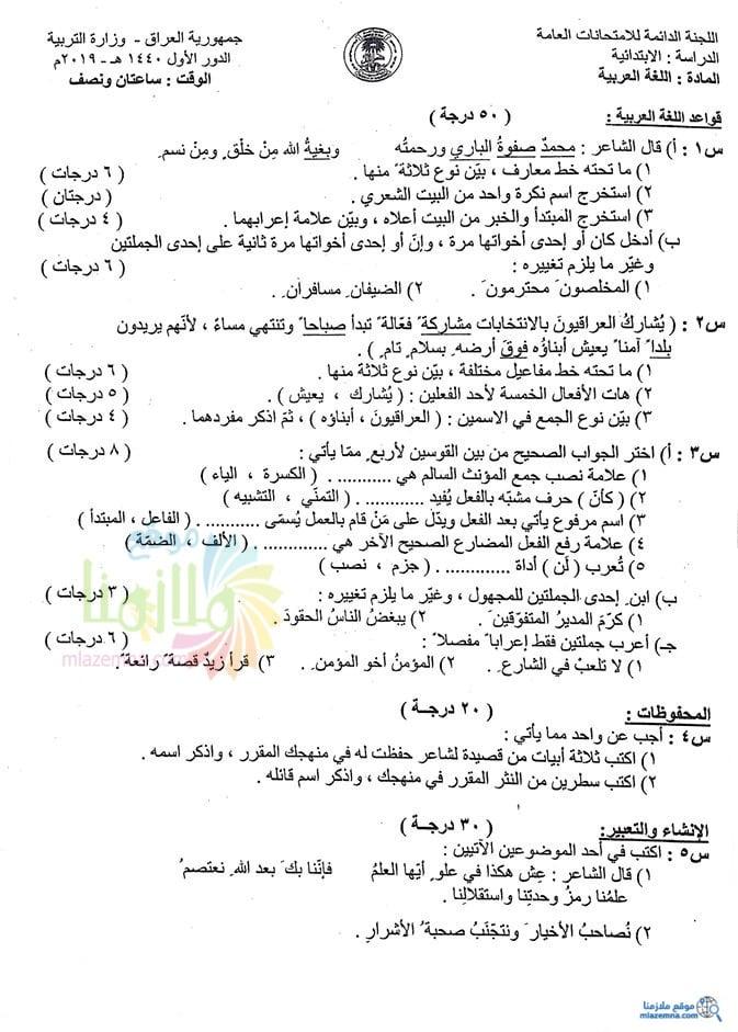 كتاب اللغة العربية للصف الاول الابتدائي 2019