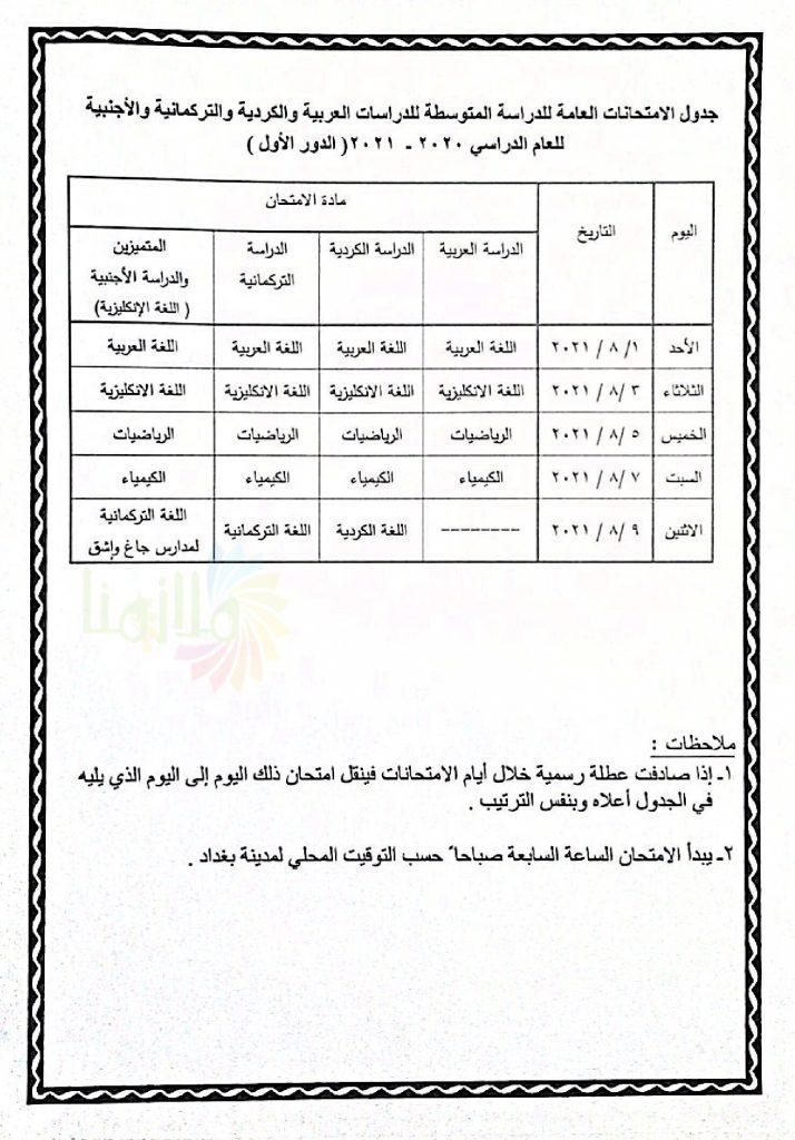 جدول امتحانات الثالث متوسط 2021 الجديد